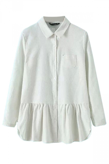 White Ladies Plain Long Sleeve Ruffle Pleated Blouse