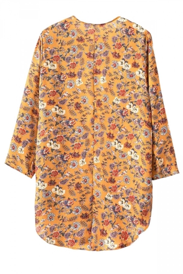 Yellow Modern Womens Long Sleeve Floral Cardigan Kimono