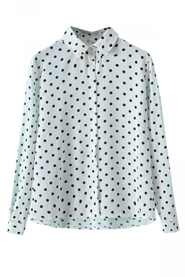 White Vintage Polka Dot Womens Chiffon Long Sleeves Blouse