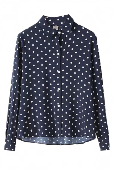 Navy Blue Vintage Polka Dot Womens Chiffon Long Sleeves Blouse