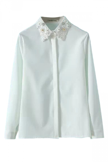 White Ladies Casual Lapel Studded Plain Blouse