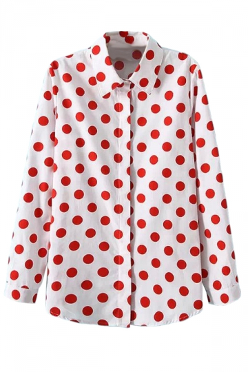 White Ladies Retro Polka Dot Long Sleeves Blouse