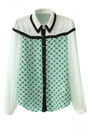 Green Ladies Casual Patchwork Lapel Long Sleeves Blouse