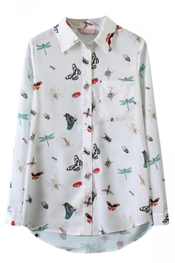 White Fancy Womens Insects Printed Chiffon Lapel Blouse