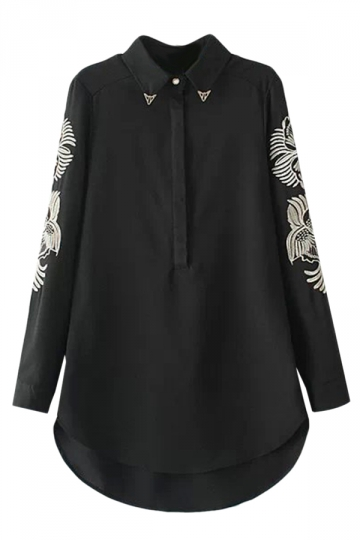 Black Long Ladies Lapel Embroidered Fashion Chiffon Blouse