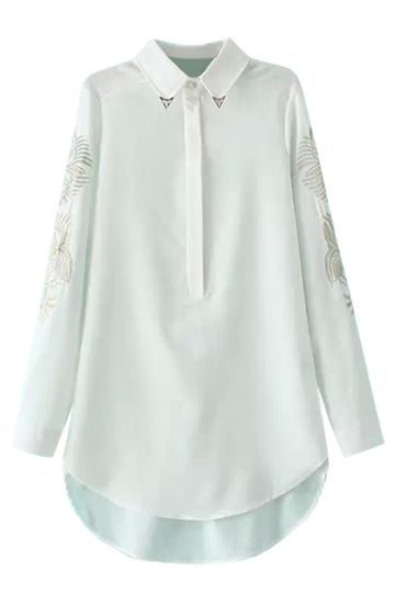 White Long Ladies Lapel Embroidered Fashion Chiffon Blouse