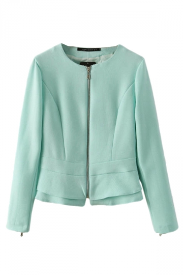 Green Pretty Womens Crew Neck Long Sleeve Ruffle Blazer