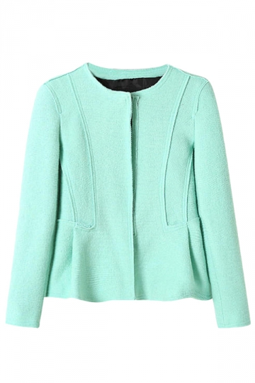 Green Womens Long Sleeve Crew Neck Candy Color Wool Blazer