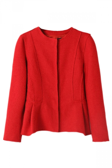 Red Womens Long Sleeve Crew Neck Candy Color Wool Blazer