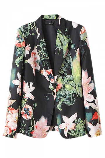 Black Trendy Ladies Floral Printed One Button Blazer