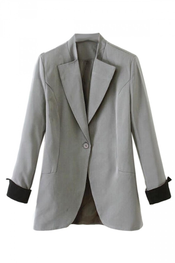 Gray Pretty Ladies Long Sleeve Plain One Button Blazer
