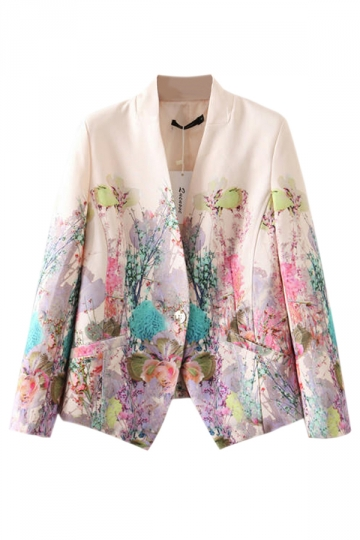 Beige Womens Nine Point Sleeve Floral Printed One Button Blazer