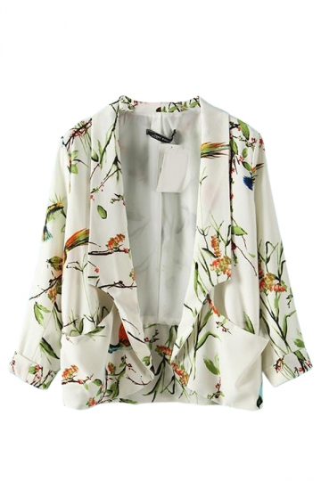 Green Chic Ladies Birds Printed Cute Blazer