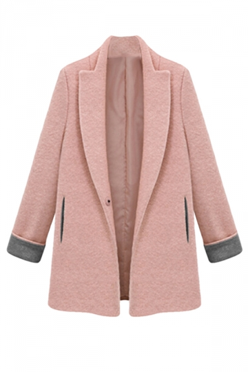 Pink Womens Fashion Long Plain Tweed Loose Blazer