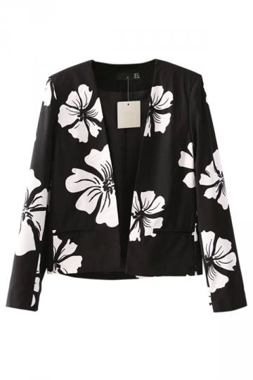 Black Charming Womens Long Sleeve Floral Printed Blazer