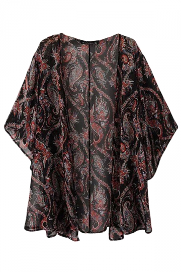 Brown Cool Ladies Sheer Paisley Printed Chiffon Kimono Coat