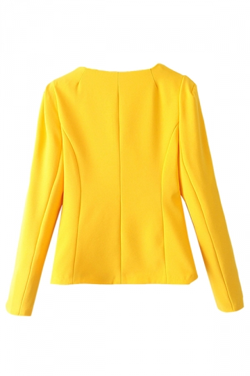 Yellow Womens Crew Neck Long Sleeve One Button Plain Blazer