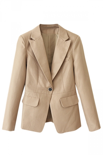 Khaki Ladies Turndown Collar Long Sleeve Plain One Button Blazer