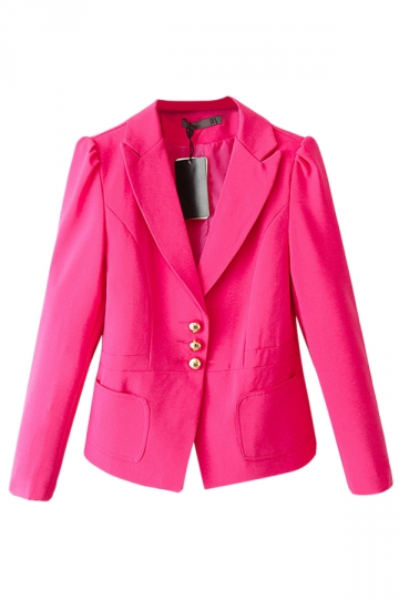 Rose Red Charming Womens Long Sleeve Turndown Collar Blazer