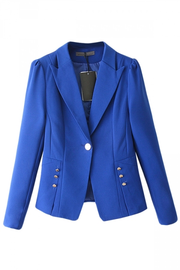 Blue Plain Fashion Womens Slim Lapel Casual Blazer