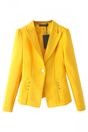 Yellow Plain Fashion Womens Slim Lapel Casual Blazer - PINK QUEEN