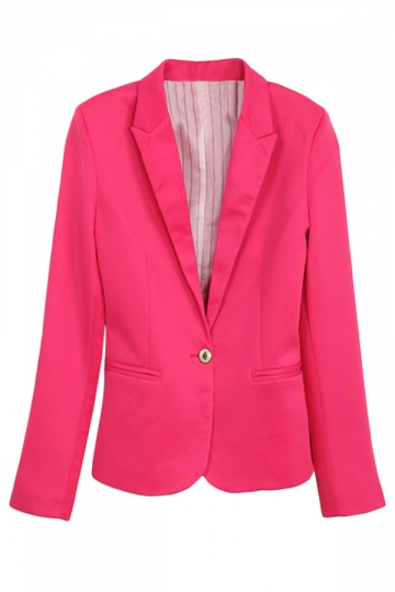 Rose Red Ladies Casual Lapel Plain Long Sleeves Blazer