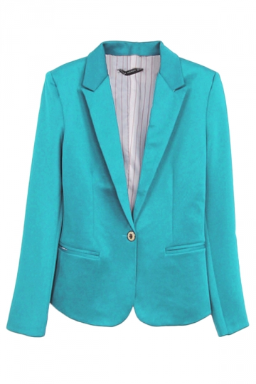 Turquoise Ladies Casual Lapel Plain Long Sleeves Blazer