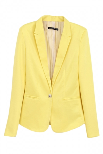Yellow Ladies Casual Lapel Plain Long Sleeves Blazer
