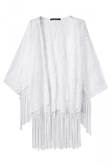 White Ladies Lace Plain Fringe Sheer Kimono Coat