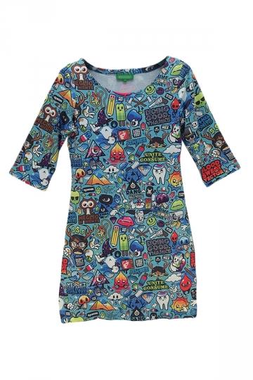 Blue Cute Ladies Cartoon Printed Doodle Bodycon Dress