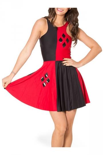 Red Fancy Womens Sleeveless Color Block Harley Quinn Skater Dress