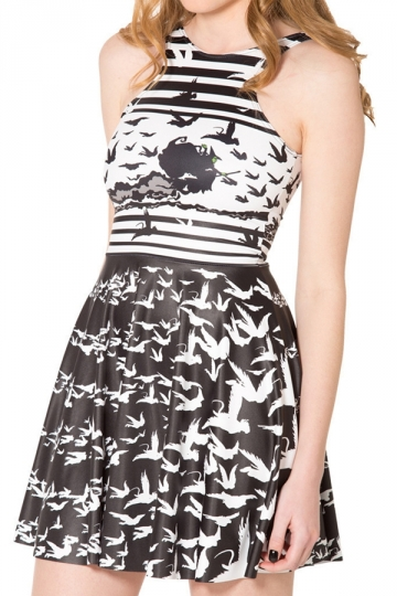 Black and White Classic Ladies Stripes Birds Printed Skater Dress