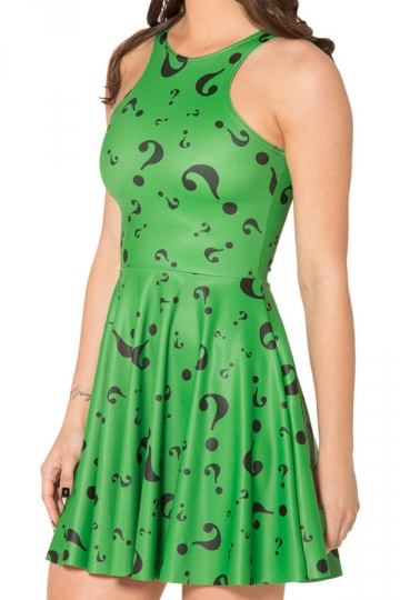 Green Womens Fancy Question Marks Printed Skater Dress