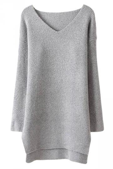 Gray Ladies V Neck Long Sleeve Knitted Plain Slit Sweater Dress