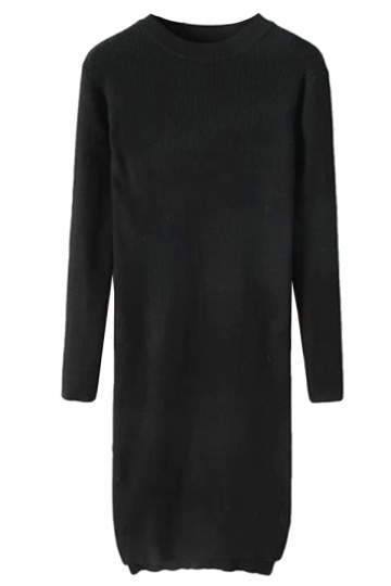 Black Ladies Long Sleeve High Low Slit Knitted Sweater Dress