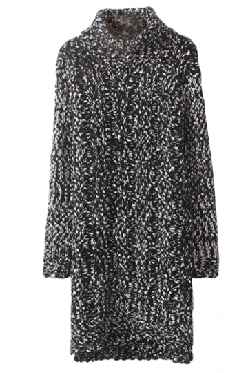 Black Womens Cable Knit High Collar Long Sleeve Sweater Dress