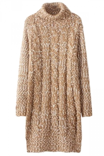 Khaki Womens Cable Knit High Collar Long Sleeve Sweater Dress
