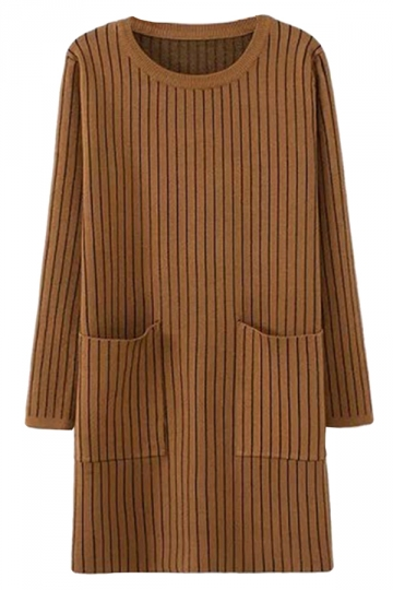 Khaki Womens Striped Thick Pockets Long Sleeve Sweater Dress