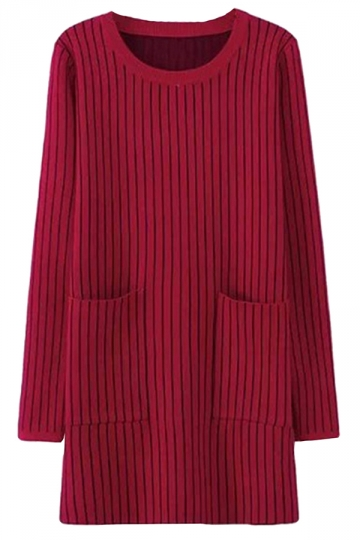 Rose Red Womens Striped Thick Pockets Long Sleeve Sweater Dress