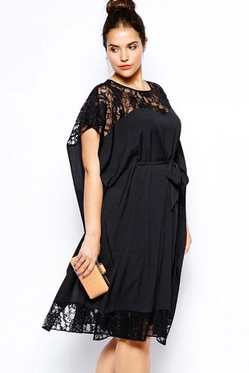 Black Ladies Crew Neck Short Sleeve Lace Patchwork Peplum Dress