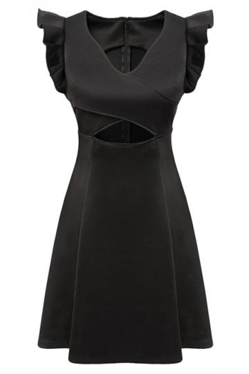 Black Ladies V Neck Cut Out Plain Ruffle Sleeveless Skater Dress