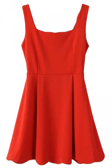 Red Ladies Sleeveless Strap Ruffle Skater Tank Dress