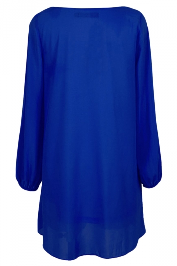 Womens V Neck Long Sleeve Plain Ruffle Chiffon Smock Dress