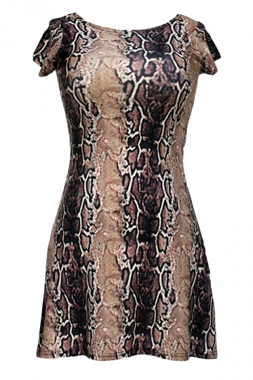 Ladies Crew Neck Short Sleeve Snake Skin Printed Skater Dress