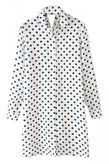 White Ladies Polka Dot Printed Shift Chiffon Shirt Dress