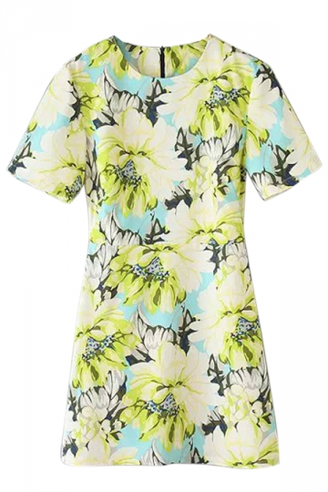Yellow Simple Womens Crew Neck Short Sleeve Floral Smock Dress