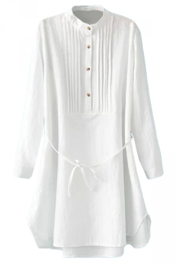 White Simple Womens Pleated Tunic Long Sleeve Plain Shirt Dress