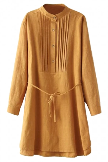 Yellow Simple Womens Pleated Tunic Long Sleeve Plain Shirt Dress