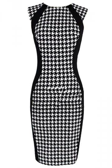 Black Vintage Womens Plaid Houndstooth Fashion Bodycon Dress