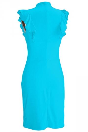 Turquoise V Neck Ladies Ruffle Elegant Sleeveless Bodycon Dress
